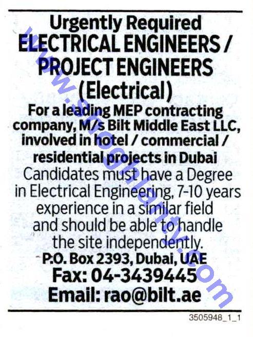 Jobs electrical engineer-United Arab Emirates- Dubai 10 Septemb