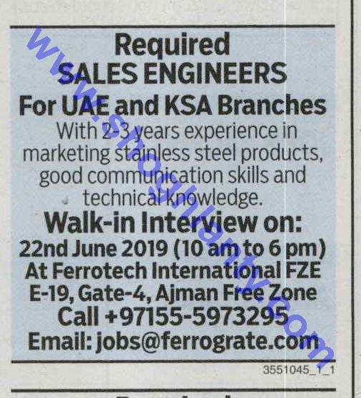 Jobs Sales engineer-United Arab Emirates- Ajman 21 June 2019