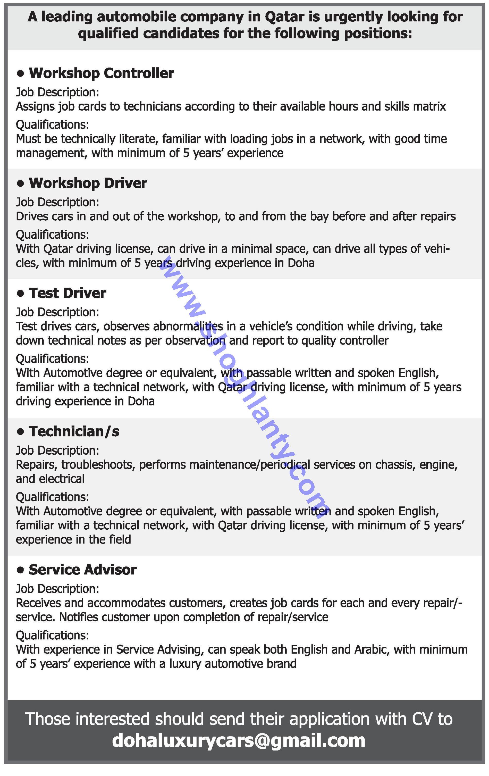 Jobs Technicians-Qatar- 26 March 2017