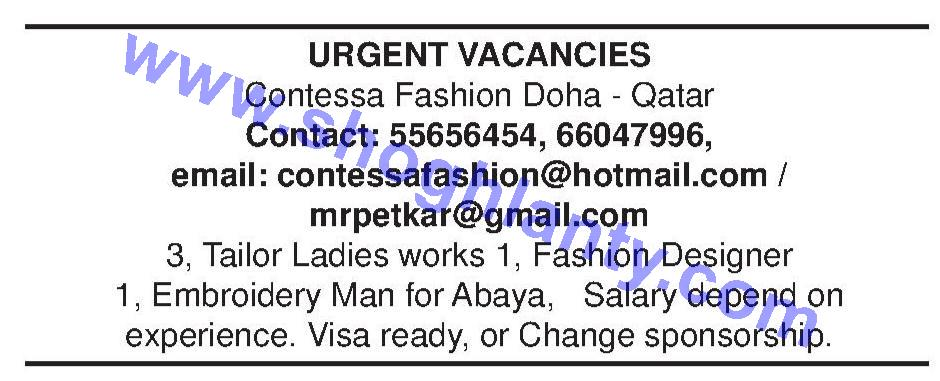 Jobs Fashion Designer Qatar Doha 11 May 2014