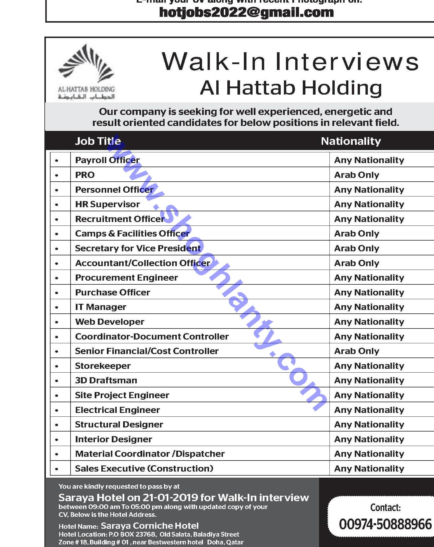 Jobs Secretary Qatar 20 January 2019
