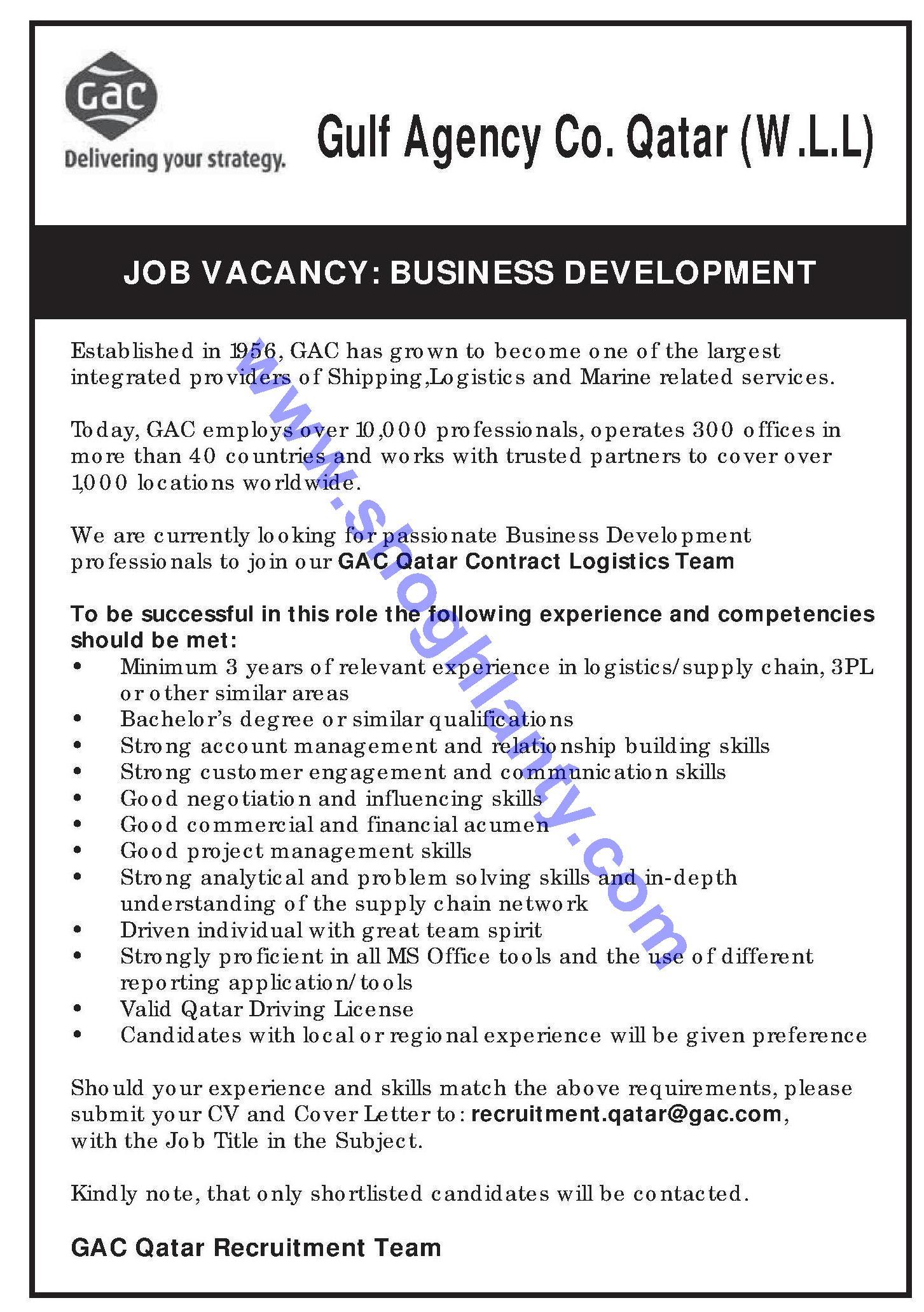 Jobs Business development manager-Qatar- 26 June 2018