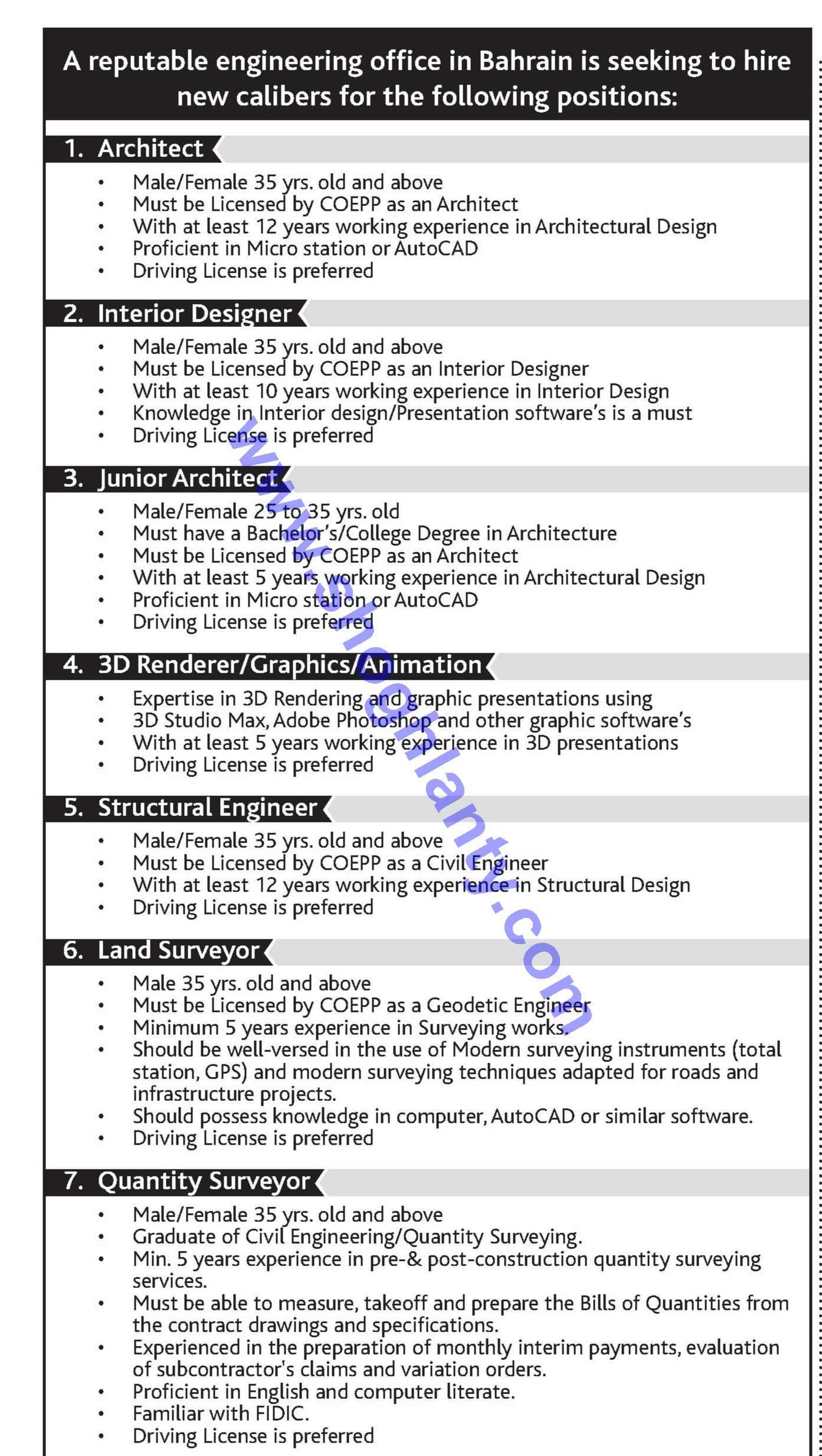 Jobs Quantity surveyor-Bahrain- 08 January 2015