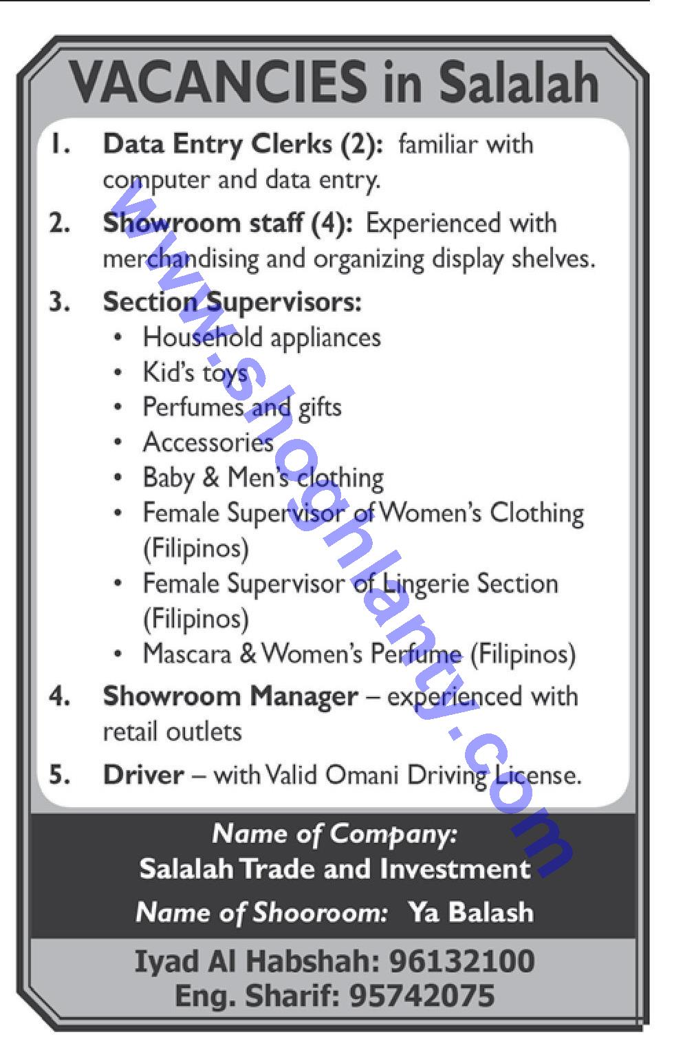 Jobs Drivers-Oman- Salalah 10 October 2018