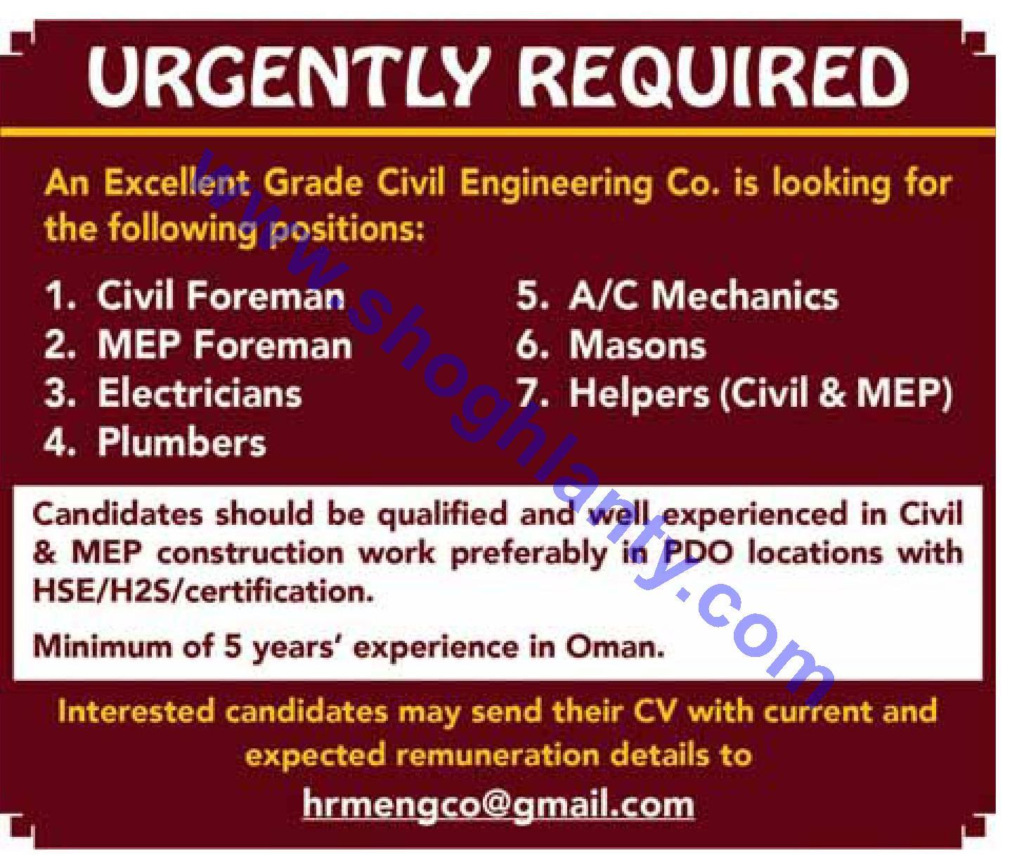 Jobs Electrical technician-Oman- 21 April 2019