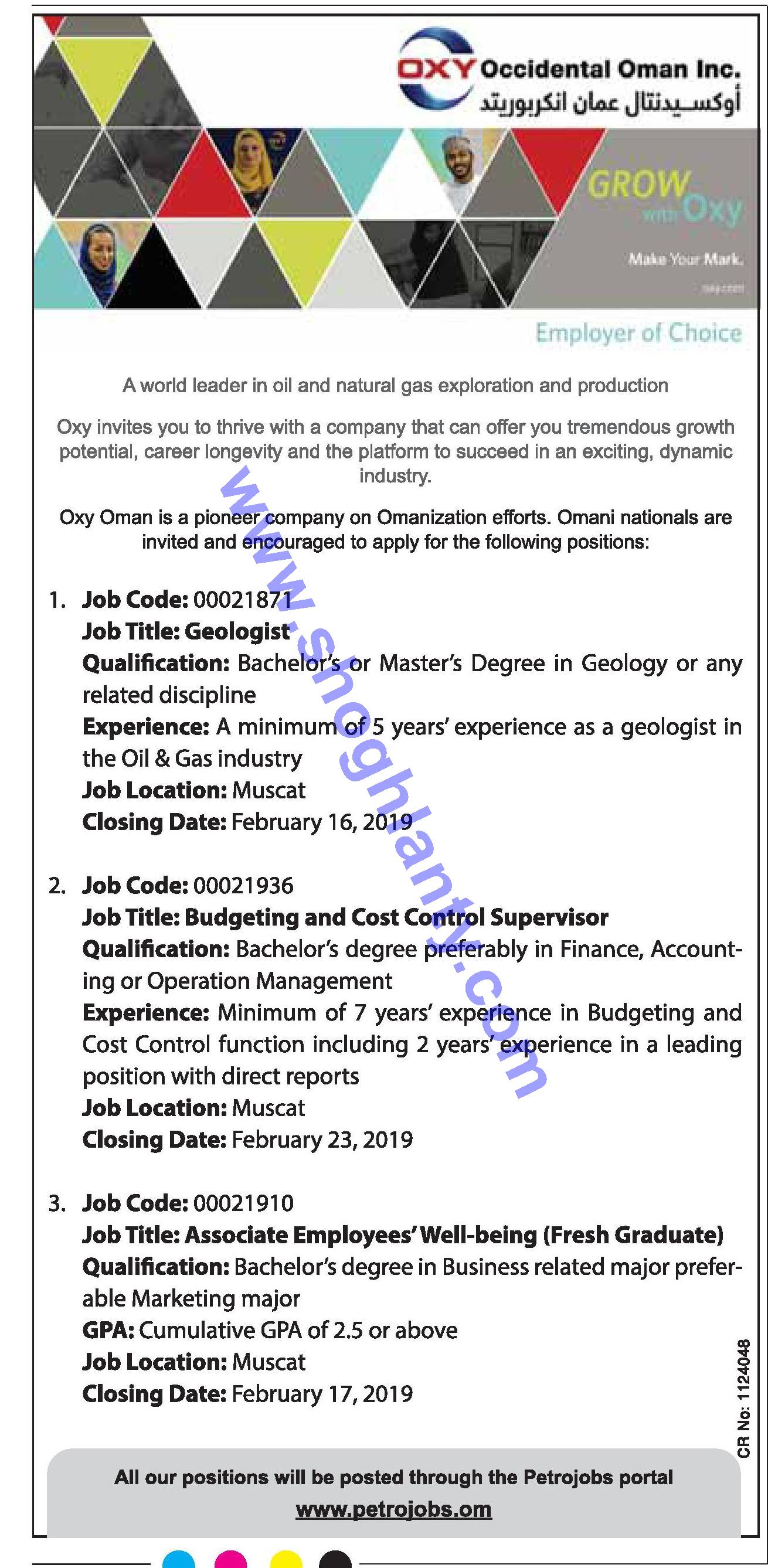 Jobs Geologist-Oman- Muscat 11 February 2019