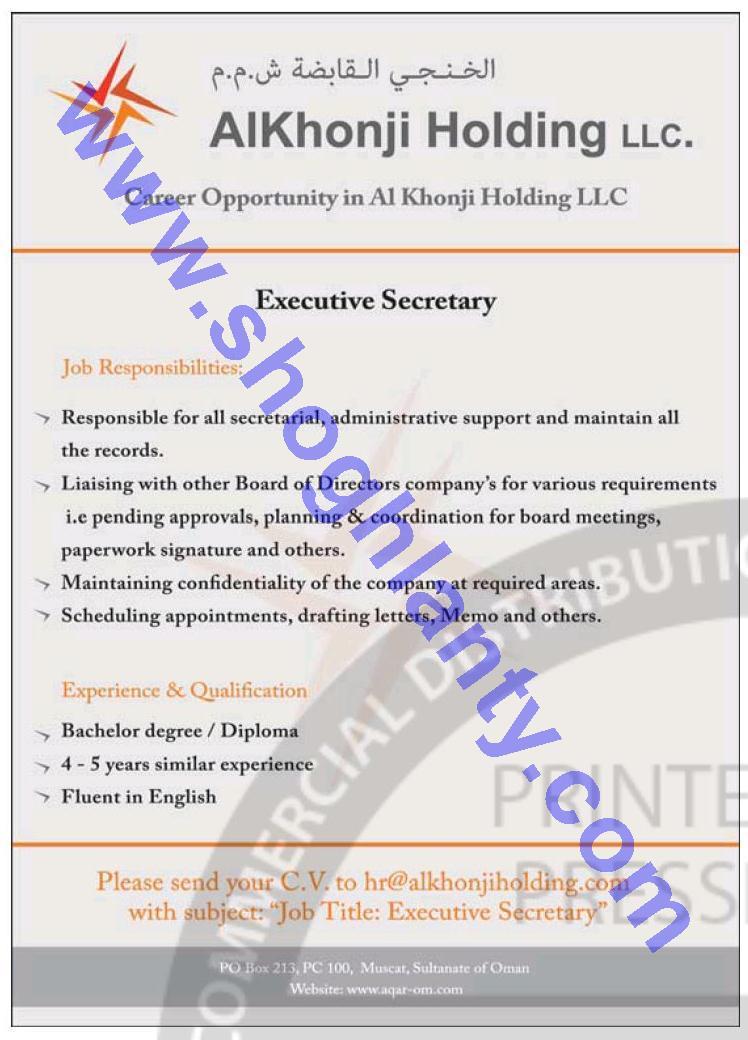 Jobs Executive secretary-Khonji Holding Company - Oman-Oman- 18