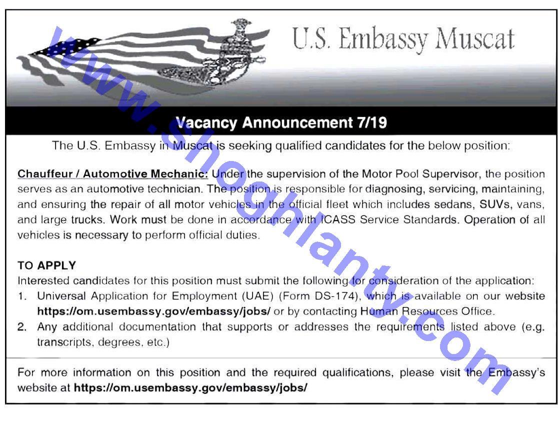 Jobs Vehicles mechanics-U S  Embassy in Muscat - United States-O