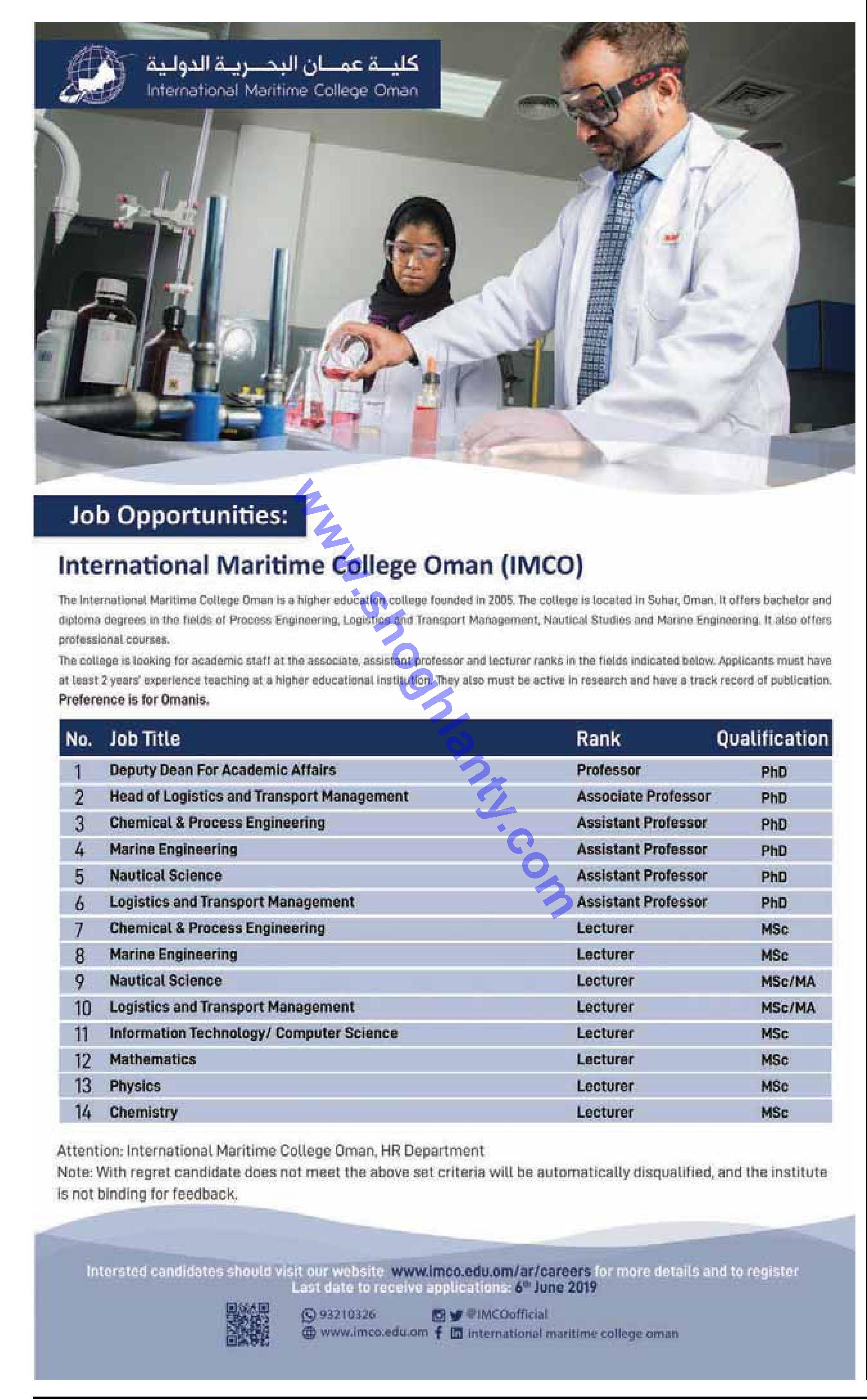 Jobs Academic-International Maritime College of Oman - Oman-Oman